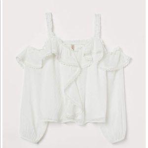 WORN ONCE H & M open shoulder blouse polka dot